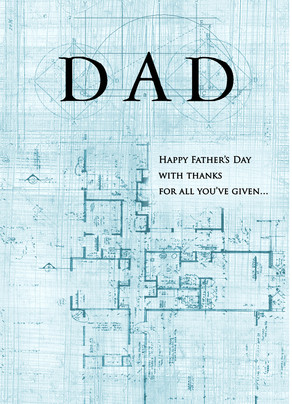 Father's Day Blueprint Design 5x7 Folded Card