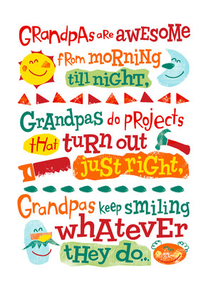 Colorful Sunshiny Grandpa 5x7 Folded Card
