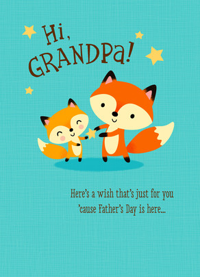Cute Grandpa Fox 5x7 Folded Card