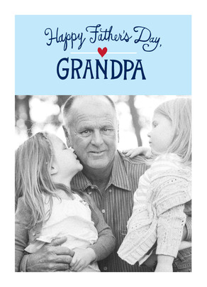 Grandpa Photo with Blue Lettering 5x7 Folded Card