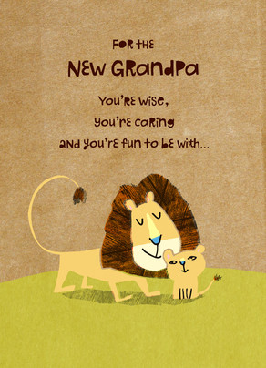 New Grandpa Lions 5x7 Folded Card