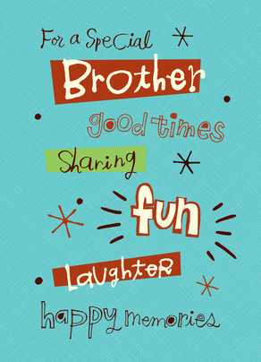 Brother Father's Day Fun Lettering 5x7 Folded Card