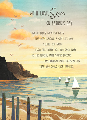 Son Father's Day Seashore 5x7 Folded Card