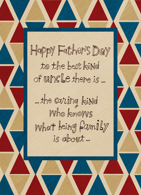 fathers day uncle triangle pattern 5x7 folded card