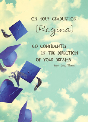 Direction of Your Dreams Grad Caps 5x7 Folded Card