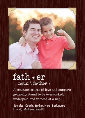 Definition of Father with Photo 5x7 Folded Card