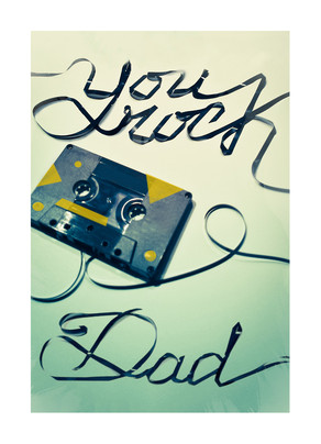 Cassette Tape Dad's Day Lettering 5x7 Folded Card