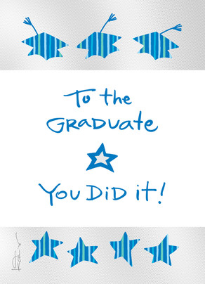 Grad Caps and Stars Pattern 5x7 Folded Card
