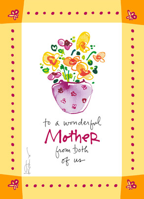 Mother's Day Floral in Vase 5x7 Folded Card