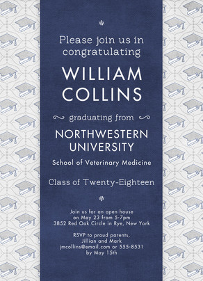 Cap Pattern Grad Invitation Vertical 5x7 Flat Card