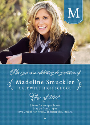 Houndstooth Grad Photo Invitation 5x7 Flat Card