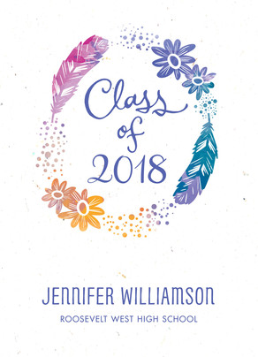 Watercolor Feathers Grad Announcement 5x7 Flat Card