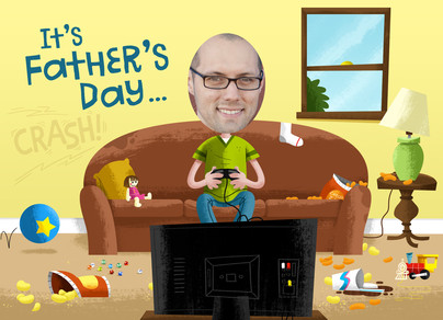 Photo Head Video Game Dad 7x5 Folded Card