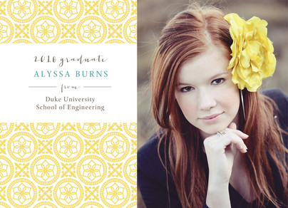 Classic Grad Photo Announcement Yellow 7x5 Flat Card