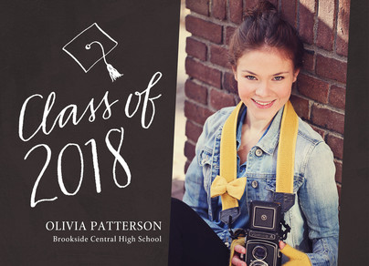 Handlettering Photo Grad Announcement 7x5 Flat Card
