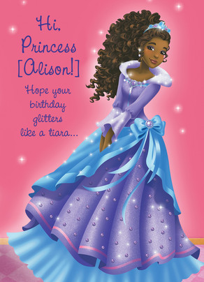 Pink and Purple Princess Birthday Card 5x7 Folded Card