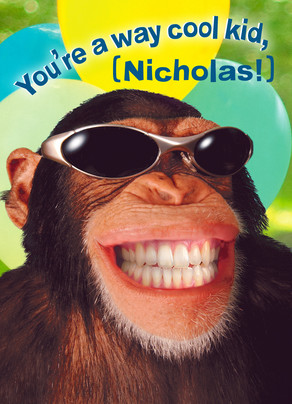 Kids Birthday Chimp with Shades 5x7 Folded Card