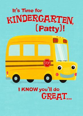 Kindergarten School Bus 5x7 Folded Card