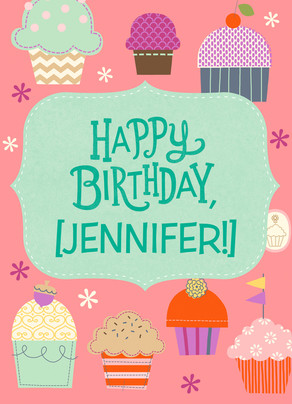 Cupcake Birthday with Name 5x7 Folded Card