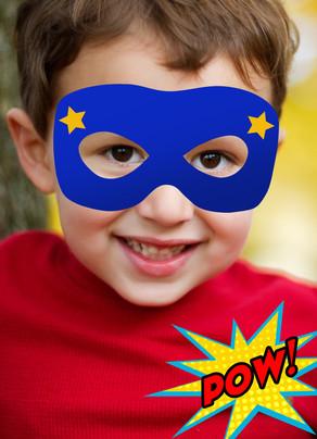 Superhero Mask Photo Birthday Card 5x7 Folded Card