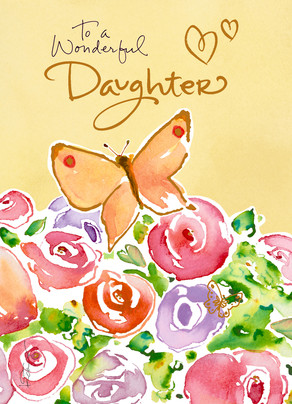 Butterfly Daughter Birthday 5x7 Folded Card