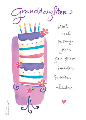 Granddaughter birthday cake happy birthday card cardstore granddaughter birthday cake 5x7 folded card bookmarktalkfo