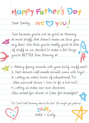 Happy Father's Day Kids' Letter 5x7 Folded Card
