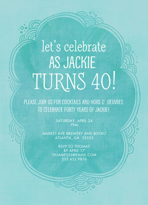 Light Blue 40th Birthday Invitation