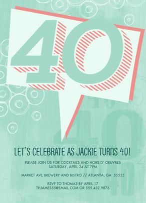 Graphic Art 40th Birthday Invitation 5x7 Flat Card
