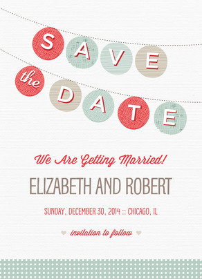 Colorful Bunting Save-the-date 5x7 Flat Card