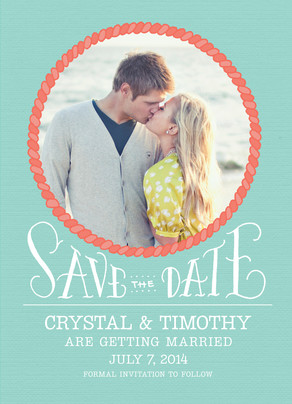 Nautical Inspired Photo Save-the-date 5x7 Flat Card