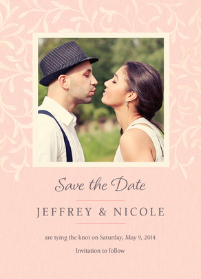 Classic Pink Ivy Photo Save-the-date 5x7 Flat Card