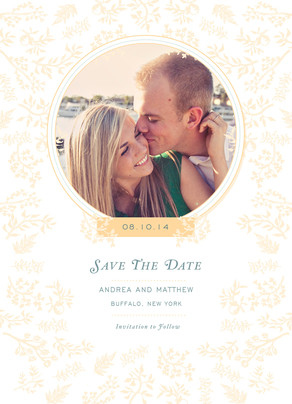 Classic Ivory Photo Save-the-date 5x7 Flat Card