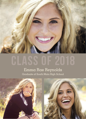 Class of 2017 Multi-photo Tan 5x7 Flat Card