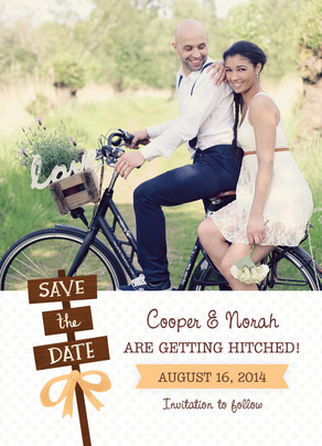 Signpost Design Photo Save-the-date 5x7 Flat Card