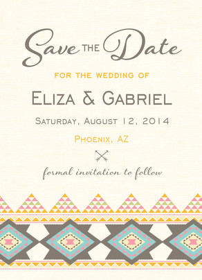 Southwest Design Save-the-date 5x7 Flat Card