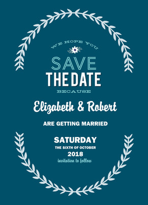 Laurel Design Save-the-date 5x7 Flat Card