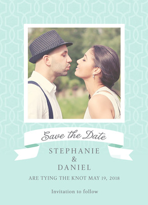 White Ribbon & Photo Save-the-date 5x7 Flat Card