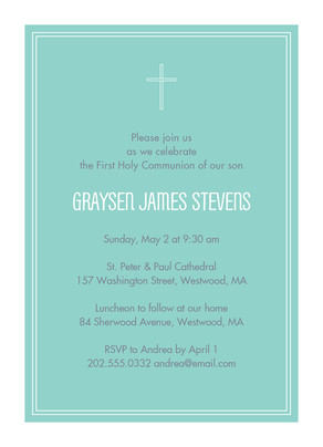 Aqua First Communion Invitation 5x7 Flat Card