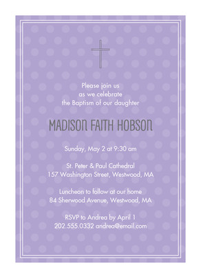 Lavender Dots Communion Invitation 5x7 Flat Card