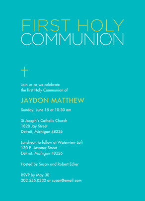 Color Block First Communion Invite Boy