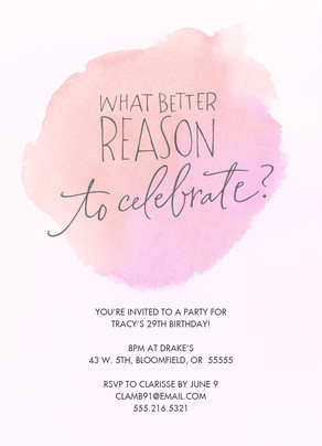 Pink Watercolor Party Invitation 5x7 Flat Card