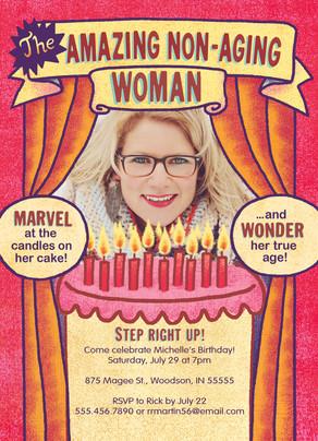 Non-aging Woman Birthday Invitation 5x7 Flat Card