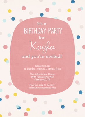 Birthday Polka Dot Pattern - Pink 5x7 Flat Card