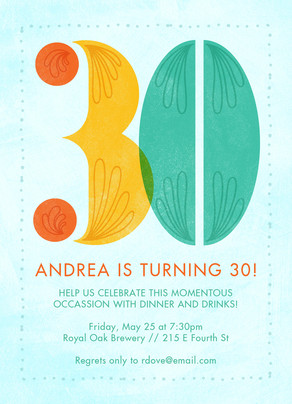 Colorful 30th Birthday Invitation 5x7 Flat Card