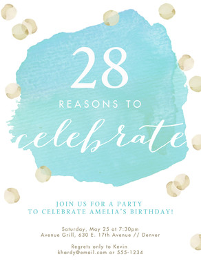 Watercolor Milestone Birthday Invitation 5x7 Flat Card