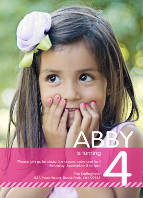 Photo Overlay Birthday Invite Girl 5x7 Flat Card