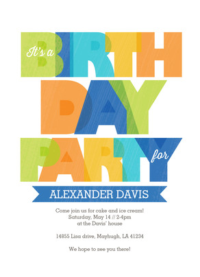 Colorful Lettering Birthday Invite Boy 5x7 Flat Card