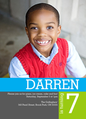 Color Block Photo Invite Boy 5x7 Flat Card