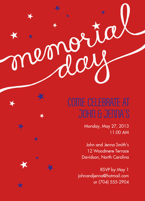 Script and Stars Memorial Day Invite 5x7 Flat Card